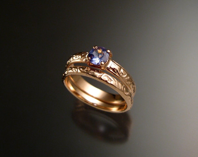 Tanzanite 14k Rose Gold Victorian floral pattern wedding ring set engagement two ring set Made to order in your size