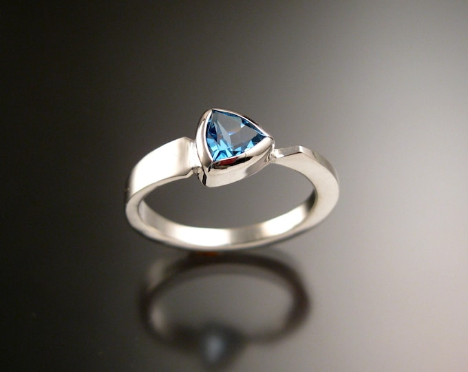 Blue Topaz triangle ring Sterling Silver bezel set Stone Asymmetrical setting made to order in your Size