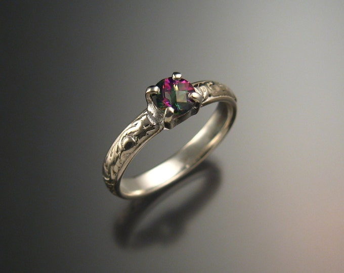 Mystic Topaz Wedding ring Sterling Silver made to order in your size