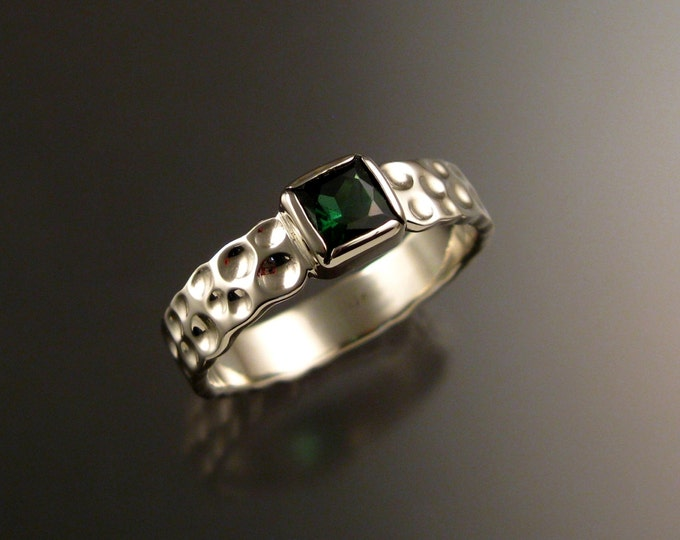 Green Tourmaline square 14k white gold Moonscape ring Emerald substitute ring size 11 1/4