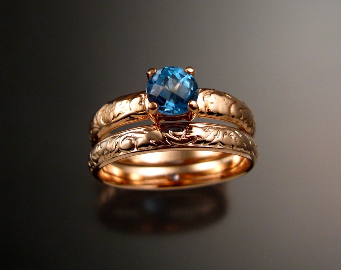 Blue Topaz Wedding set 14k rose Gold ring made to order in your size pink gold two ring engagement set