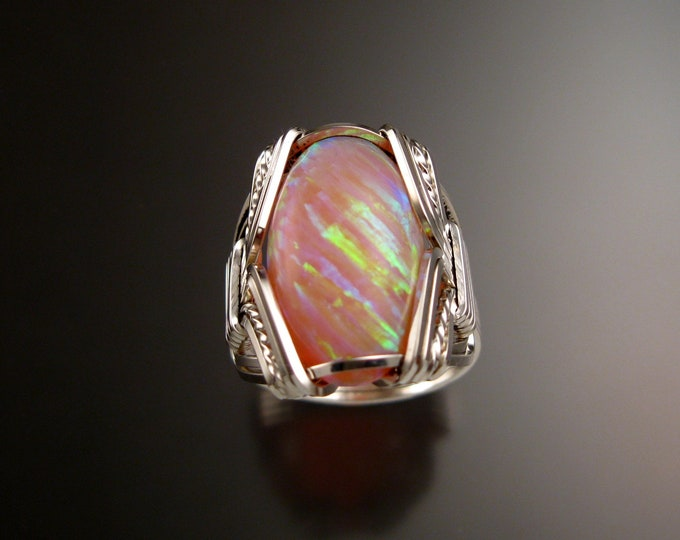 Pink Lab created Opal ring handcrafted in Sterling Silver made to order in your size