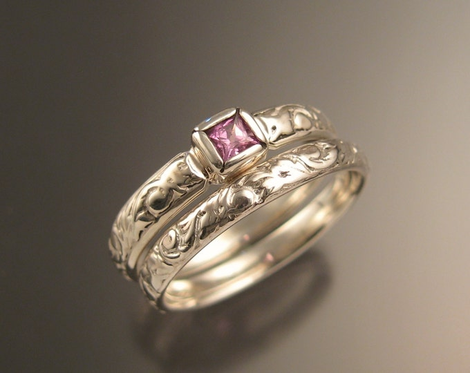 Pink Sapphire Wedding set White Gold Victorian Pink Diamond substitute Natural square cut stone ring made to order in your size