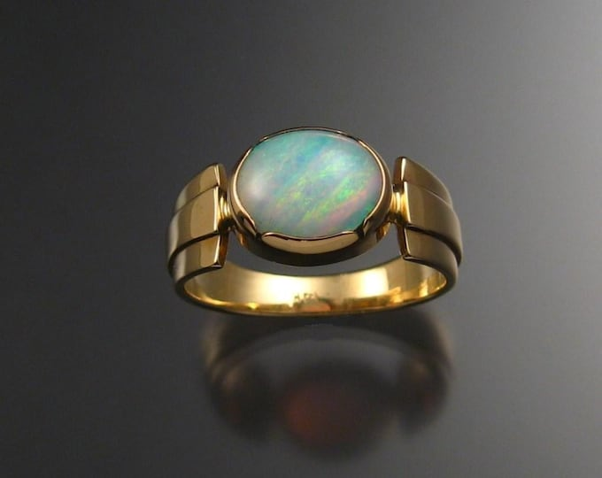 Opal ring, 14k gold, oval, size 8 3/4