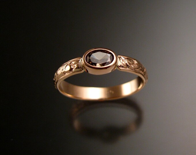 Honey Zircon Wedding ring 14k rose Gold Victorian bezel set Chocolate Diamond substitute with 4x5 mm oval stone made to order in your size