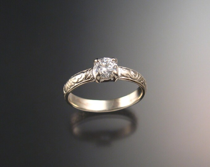 White Sapphire Wedding ring Sterling Silver Diamond substitute ring made to order in your size