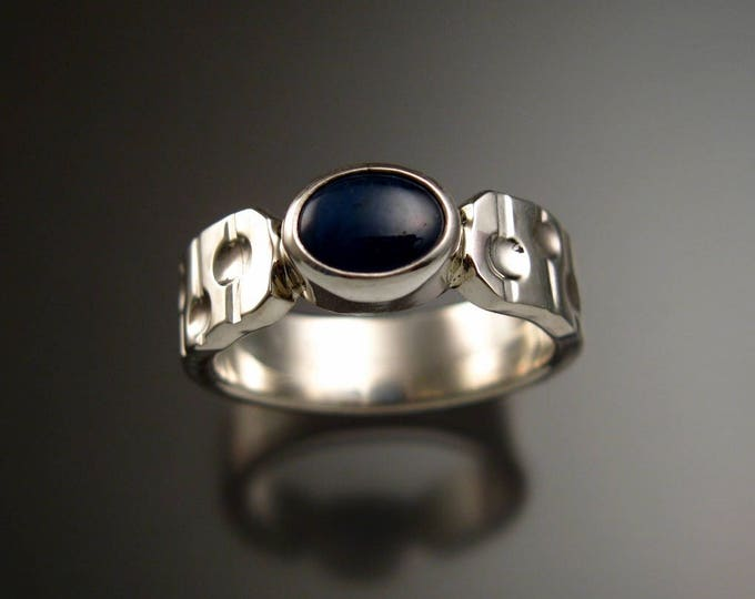 "Star Sapphire ring Natural blue star Sapphire Sterling Silver ring Made to order in your size ""Bars and Craters"" band"