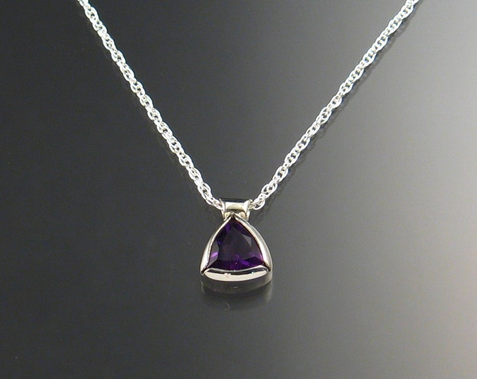 Amethyst Triangle Necklace Sterling Silver