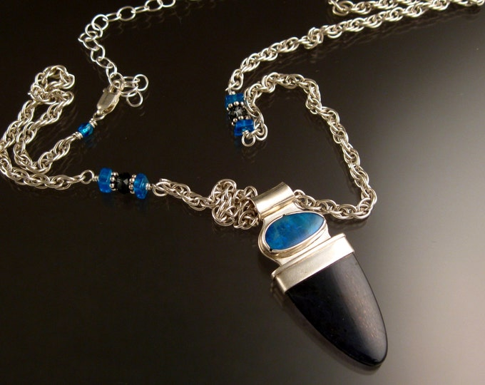 Iolite and Opal adjustable length handmade in Necklace Sterling Silver