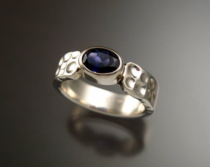 Iolite Deep blue Sapphire substitute sturdy bezel set stone ring Sterling Silver Handmade Moonscape band size 6
