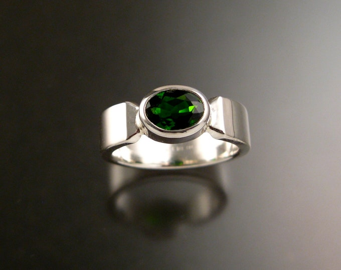 Chrome Diopside Sterling Silver rectangular band ring with bezel set east west stone Emerald substitute ring handmade to order in your size