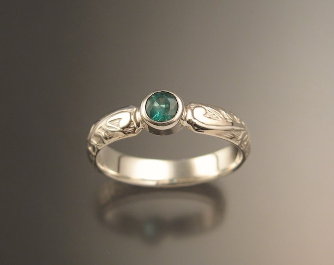 Emerald 4mm round Wedding ring 14k White Gold Victorian bezel set ring made to order in your size