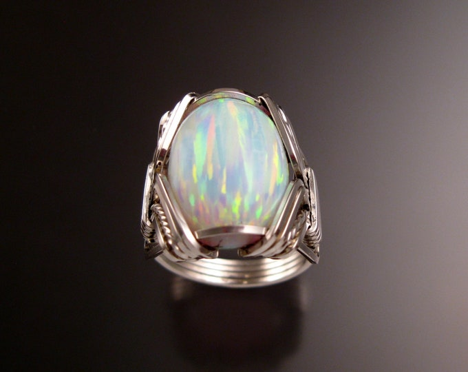 White Lab created Opal ring handcrafted in Sterling Silver made to order in your size