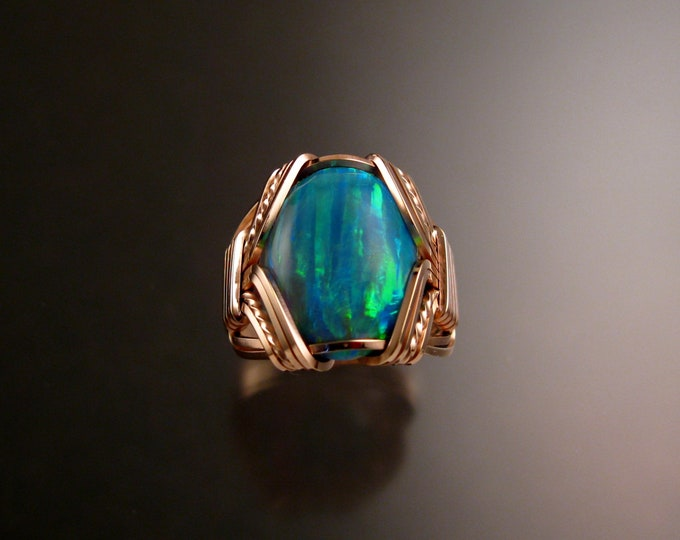 Green Lab created Opal ring 14k Rose Gold-filled Made to order in your size