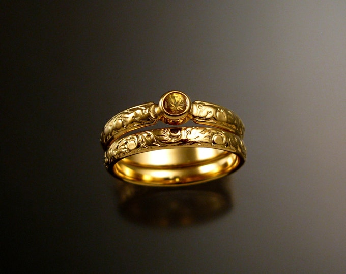 Golden Sapphire Wedding set 14k Yellow Gold Victorian bezel set canary Diamond substitute ring made to order in your size