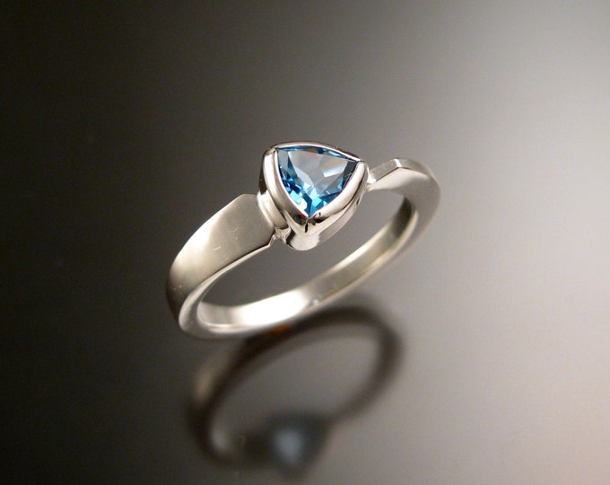 Blue Topaz triangle ring 14k white Gold bezel set Stone Asymmetrical setting made to order in your Size
