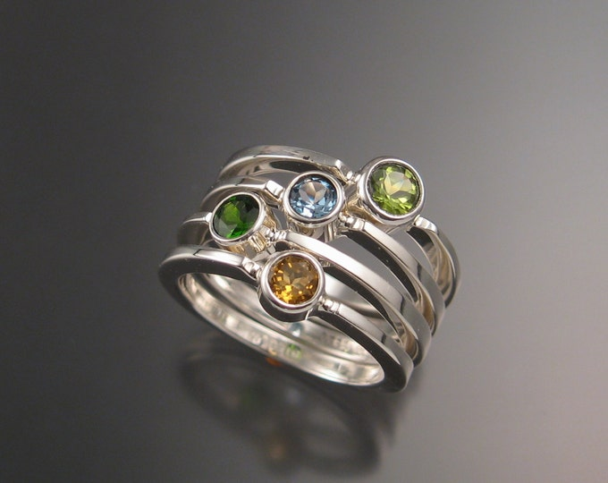 Stackable Mothers Birthstone ring set of Four Sterling silver rings handmade to order in your size with natural stones