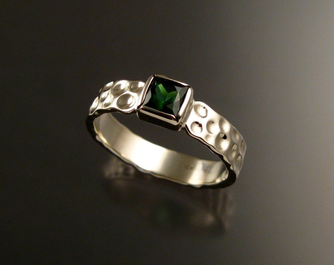 Green Tourmaline square 14k white gold Moonscape ring Emerald substitute ring handcrafted in your size