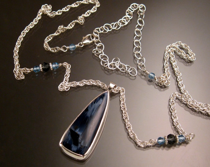 Petersite necklace deep blue long triangular drop bezel set in Sterling silver