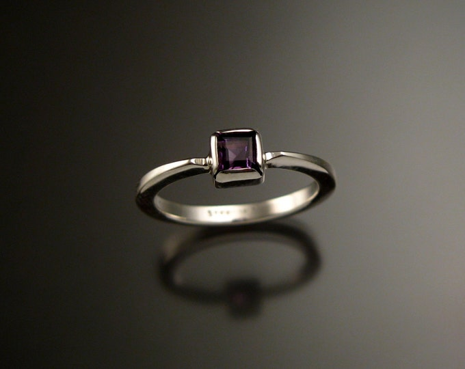 Amethyst square stone stackable ring Sterling Silver ring made to order in your size
