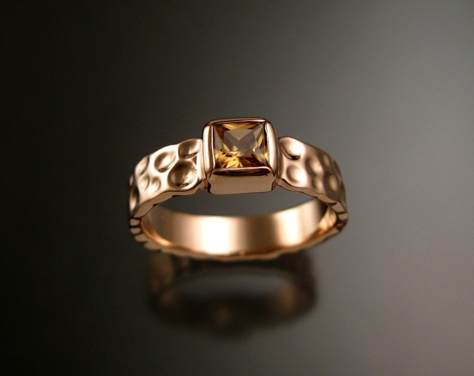 Honey Zircon 6mm square Moonscape ring handcrafted in 14k Rose Gold Chocolate Diamond substitute ring made to order in your size