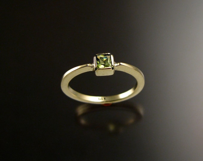 Peridot square stone stackable ring 14k Green Gold handmade to order in your size
