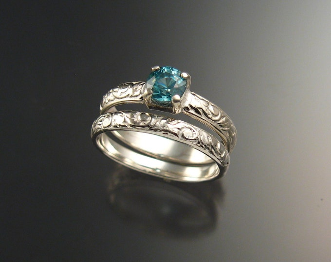 Blue Zircon Wedding set sterling silver blue Diamond substitute Victorian floral pattern two ring set made to order in your size