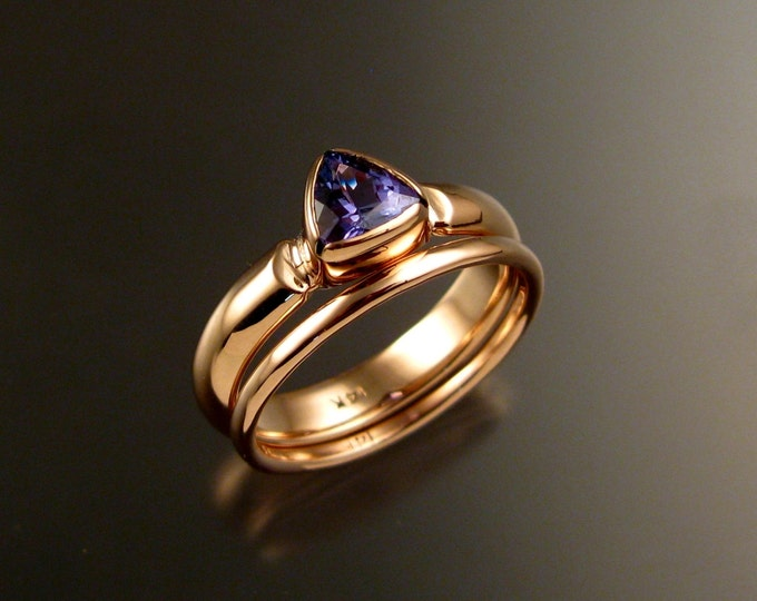 Tanzanite Triangle Wedding set handcrafted in 14k rose gold two ring set made to order in your size