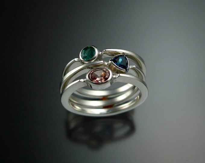 Stackable Mothers Birthstone ring set of three 14k white Gold premium birthstone stacking rings Made to order in your size