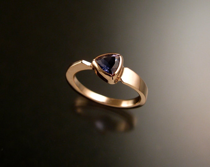 Iolite triangle ring 14k Rose Gold bezel set Stone Asymmetrical setting made to order in your Size