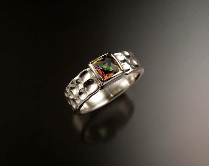 Mystic Topaz Moonscape Ring Sterling Silver Checkerboard cut square stone bezel setting ring made to order in your Size