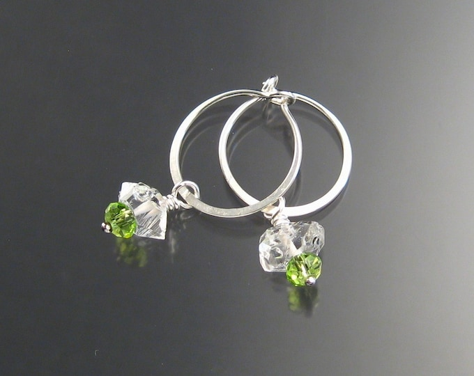 Natural Quartz Crystal Birthstone Hoop Earrings August birthstone Peridot Green Hoops in Sterling silver