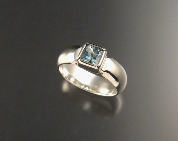 Natural Aquamarine Square ring Wide Band Sterling Silver Princess cut stone Ring size 7