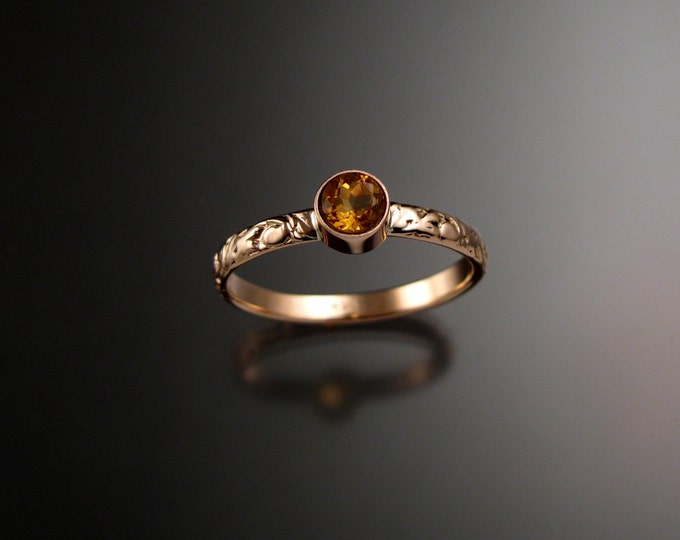 Citrine ring 14k Rose Gold bezel set Victorian floral pattern Diamond substitute ring made to order in your size