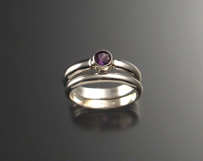 Amethyst wedding set Sterling Silver made to order in your size
