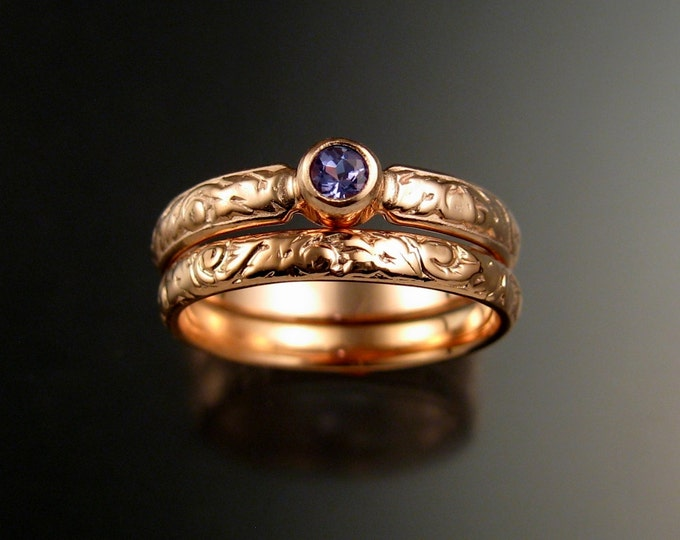 Tanzanite Wedding set 14k rose Gold Victorian bezel set two ring set made to order in your size