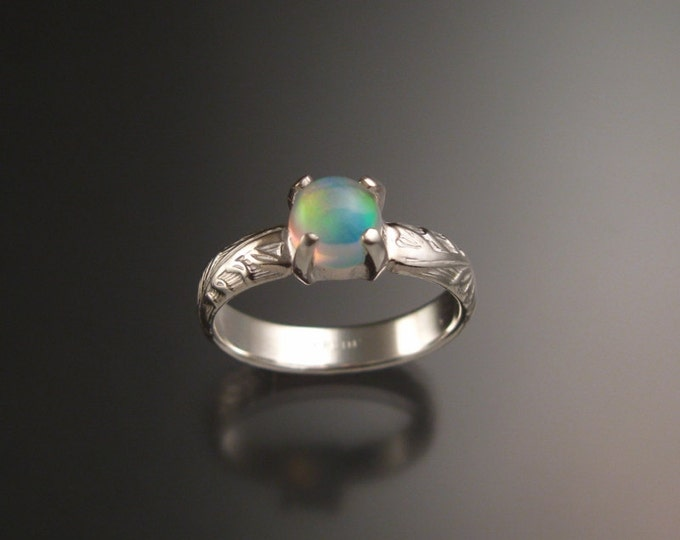 Opal Sterling silver Wedding Ring Victorian floral pattern band made to order in your size