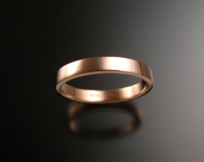 Rose Gold 1.5 mm x 3mm rectangular 14k comfort fit Bright finish Wedding band Handmade in your size ring band