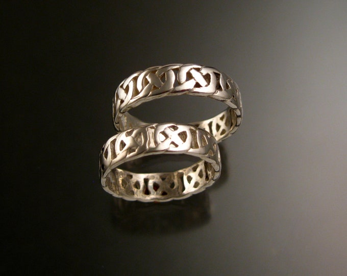 Celtic band Wedding rings His and Hers two ring set handcrafted in 14k White Gold made to order in your size