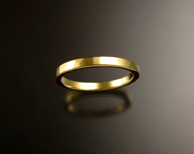 Green Gold square wedding Band stackable 14k green gold ring