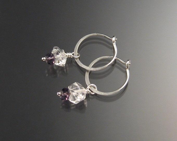 Natural Quartz Crystal Birthstone Hoop Earrings February birthstone purple Hoops in Sterling silver
