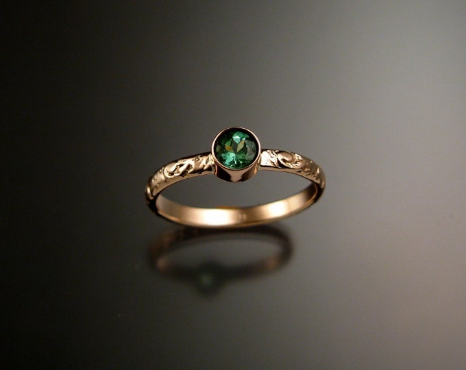 Green Tourmaline ring 14k Rose Gold bezel set Victorian floral pattern ring made to order in your size