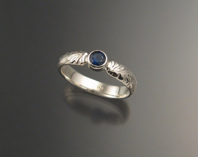 Sapphire Natural cornflower blue Wedding Ring Sterling Silver Victorian bezel set engagement ring made to order in your size