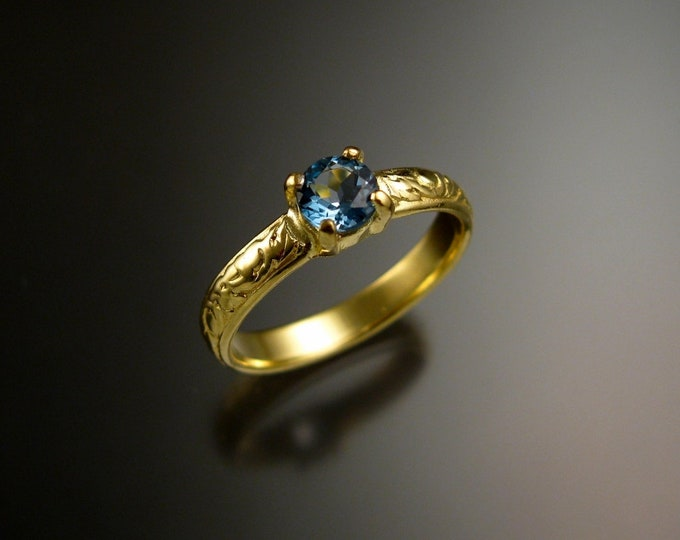 Aquamarine 14k Green Gold Victorian floral pattern wedding / engagement ring Made to order in your size