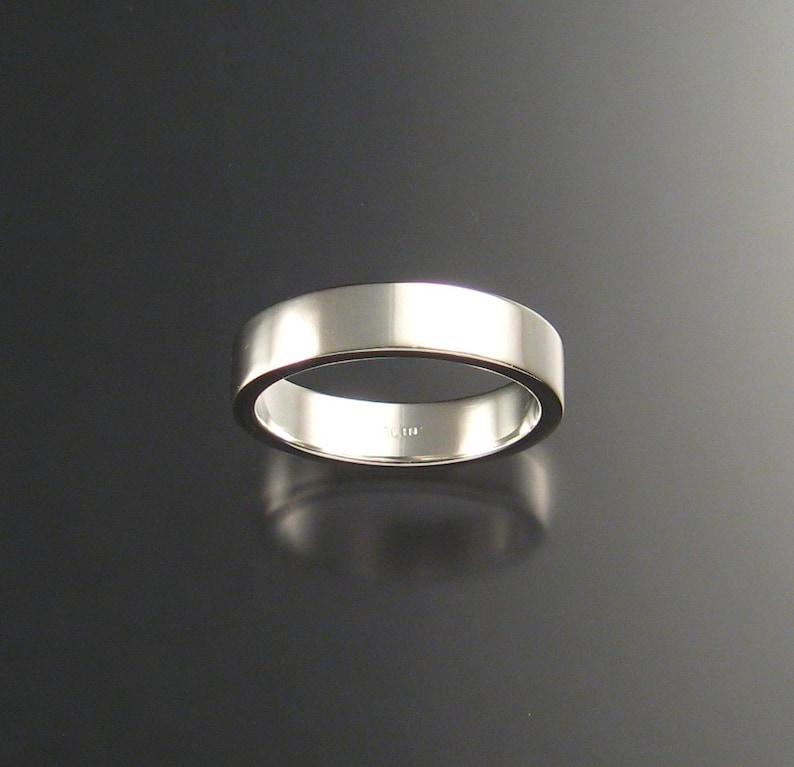 Sterling Silver Rectangular Wedding ring comfort fit band image 0