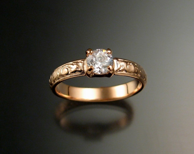 White Sapphire Wedding ring 14k Rose Gold Diamond substitute Victorian ring made to order in your size