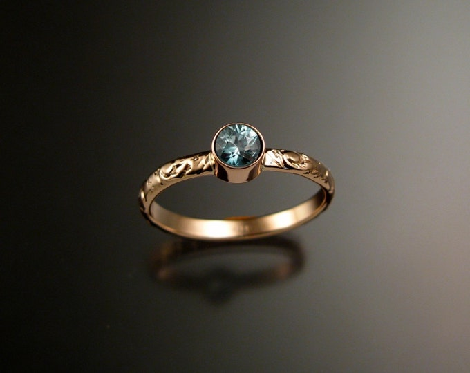 Blue Zircon ring 14k Rose Gold bezel set Victorian floral pattern ring made to order in your size