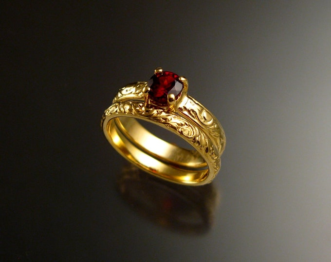 Garnet Wedding set 14k Yellow Gold Ruby substitute Natural Red Garnet two ring set made to order in your size