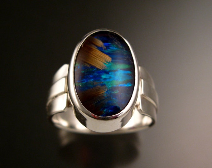 Rutilated Quartz and Blue Lab Opal Doublet ring size 12