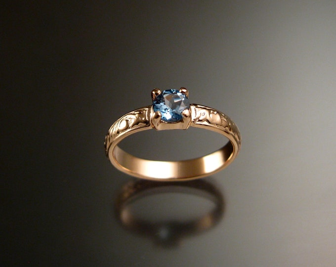 Aquamarine 14k Rose Gold Victorian floral pattern wedding ring engagement ring Made to order in your size